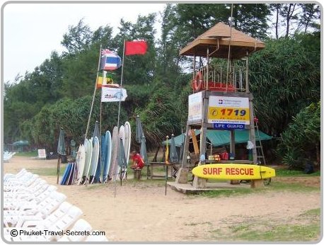 Kata Beach life guard tower, boogie board and surf board hire.