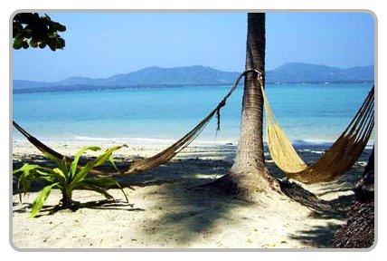 Koh Lone relaxing on a beach hammock