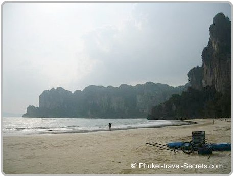 Limestone carsts frame the beach at West Railay.