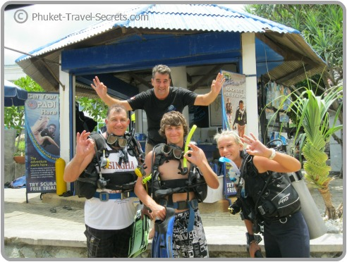 Happy and friendly staff at Phuket Scuba Club dive shop on Karon Beach