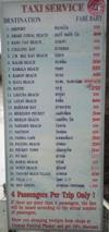 Taxi price guide, taken at Central Festival, Phuket Town.